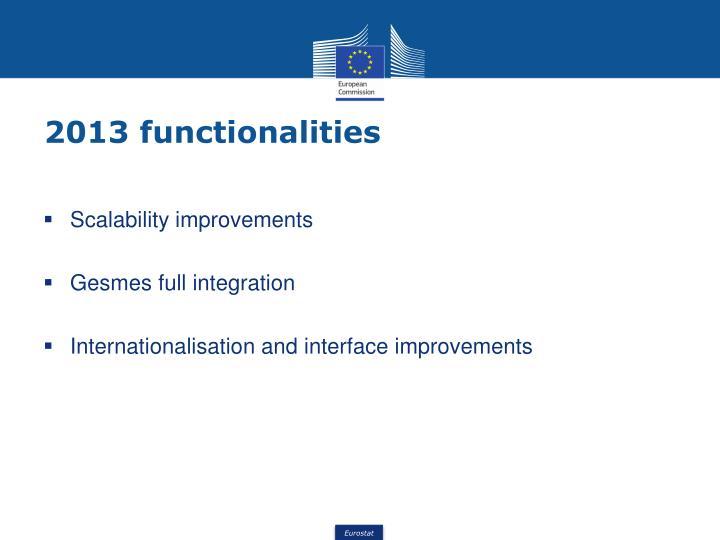 2013 functionalities