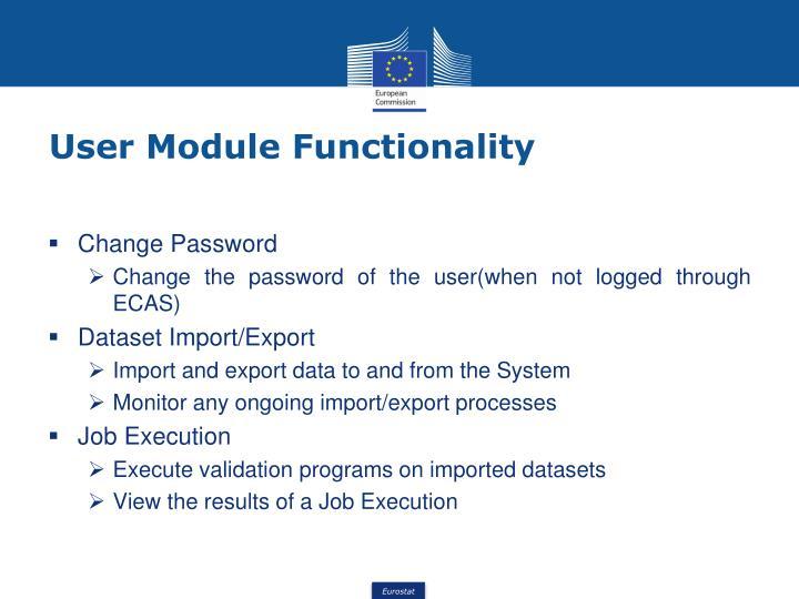 User Module Functionality