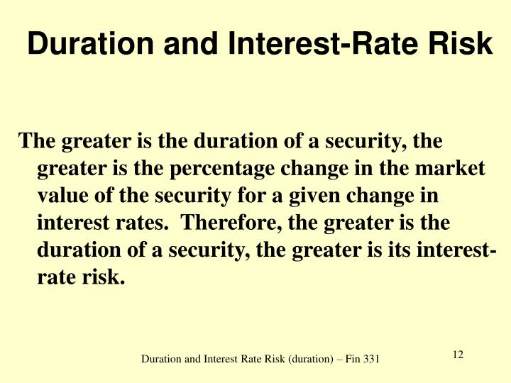 Duration and Interest-Rate Risk