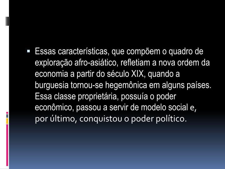 Essas características, que compõem o quadro de exploração afro-asiático, refletiam a nova ordem da economia a partir do século XIX, quando a burguesia tornou-se hegemônica em alguns países. Essa classe proprietária, possuía o poder econômico, passou a servir de modelo social
