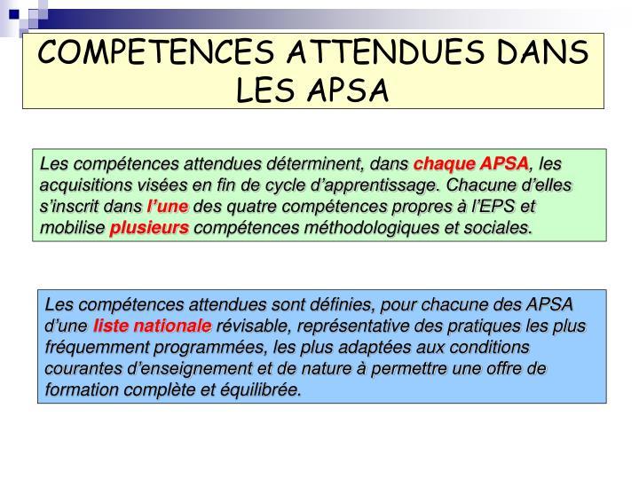 COMPETENCES ATTENDUES DANS LES APSA