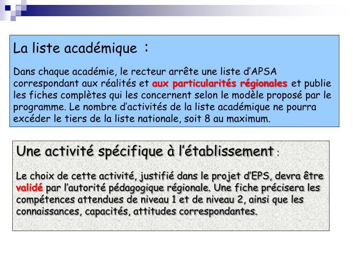 La liste académique