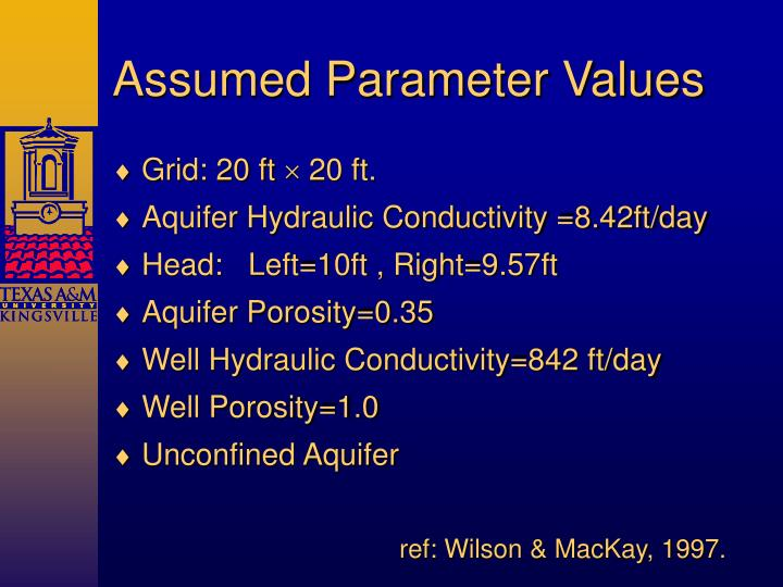 Assumed Parameter Values
