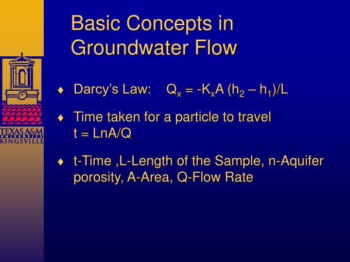 Basic Concepts in Groundwater Flow