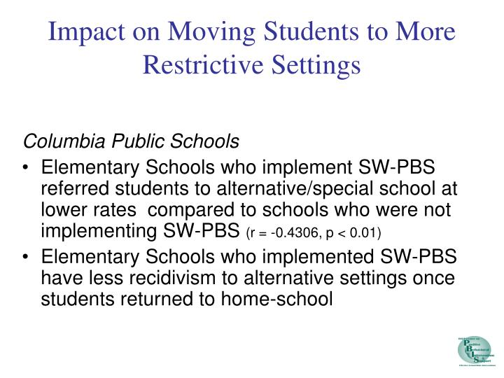 Impact on Moving Students to More Restrictive Settings