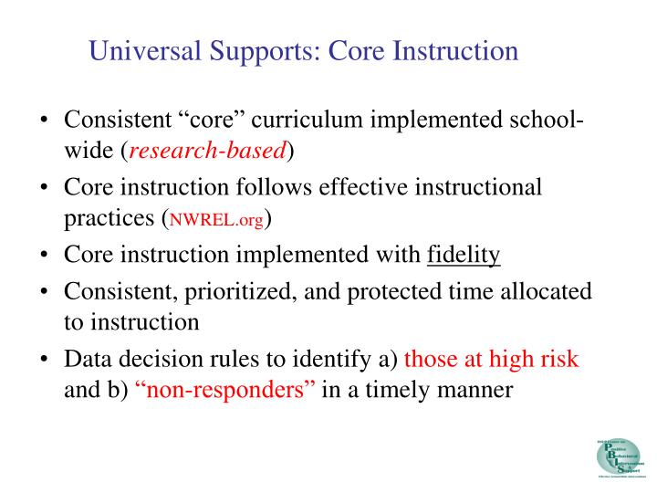 "Consistent ""core"" curriculum implemented school-wide ("