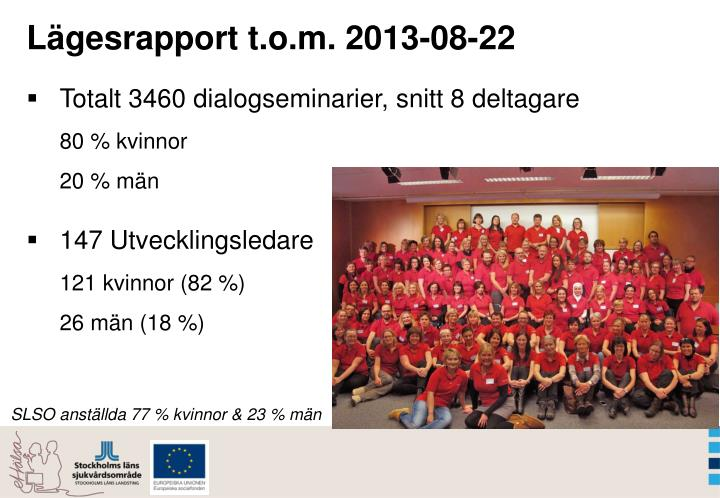 Lägesrapport t.o.m. 2013-08-22