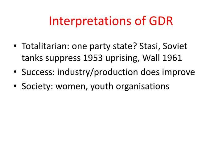 Interpretations of GDR
