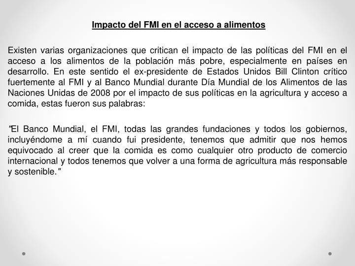 Impacto del FMI en el acceso a