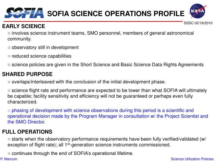 SOFIA SCIENCE OPERATIONS PROFILE