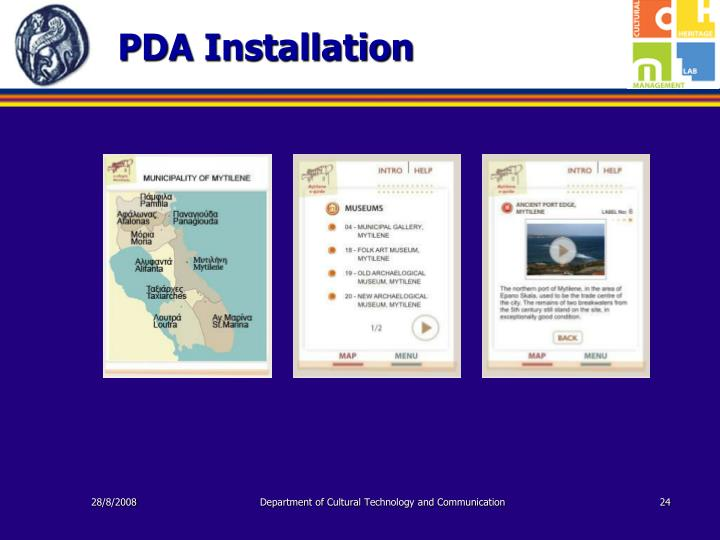 PDA Installation