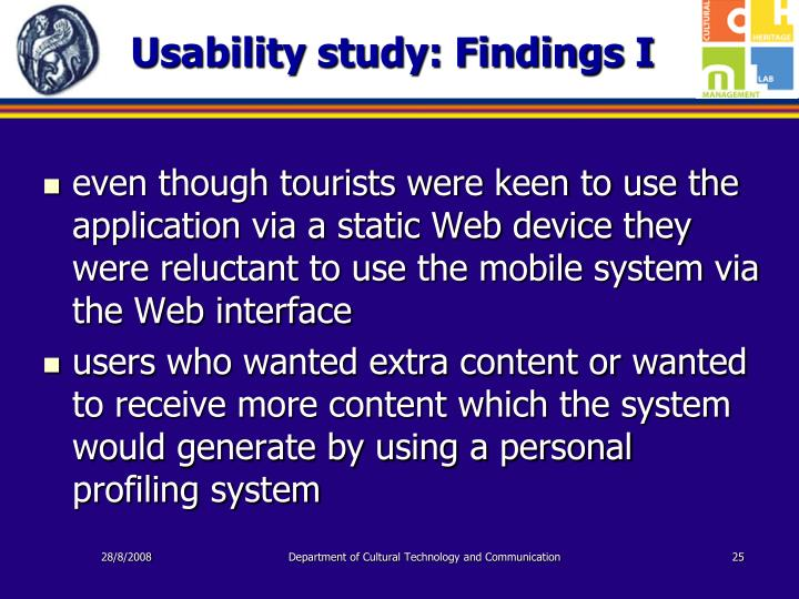 Usability study: Findings I