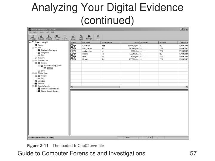 Analyzing Your Digital Evidence (continued)