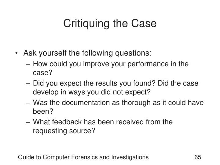 Critiquing the Case
