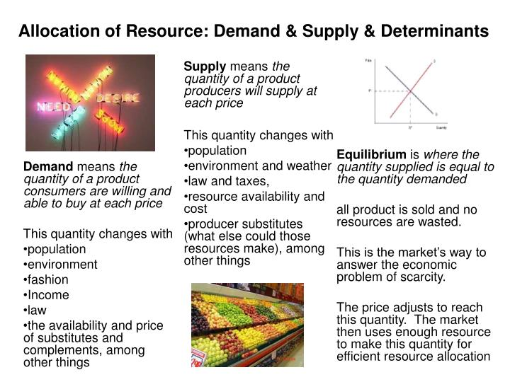 Allocation of Resource: Demand & Supply & Determinants