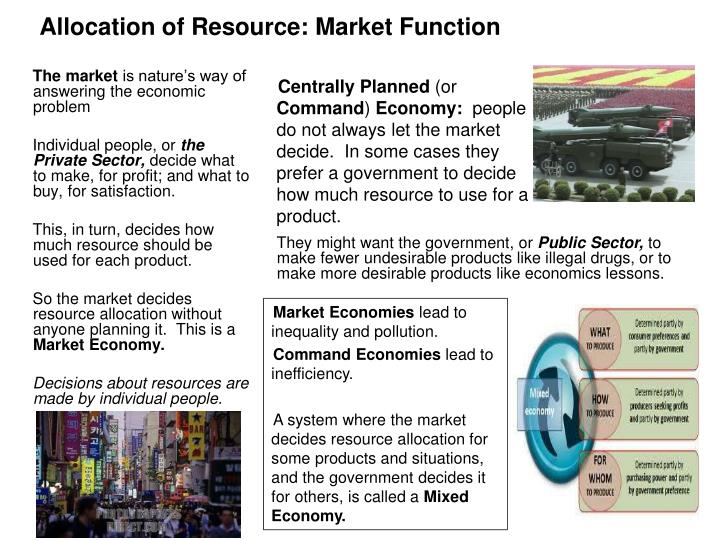 Allocation of Resource: Market Function
