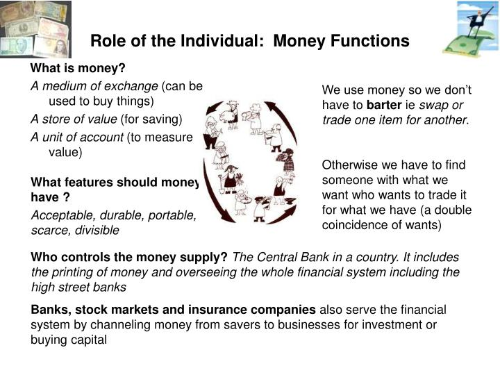 Role of the Individual:  Money Functions