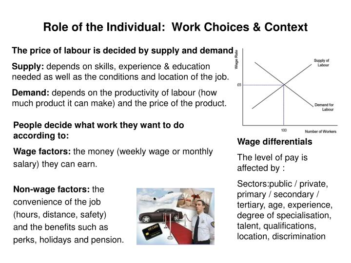 Role of the Individual:  Work Choices & Context