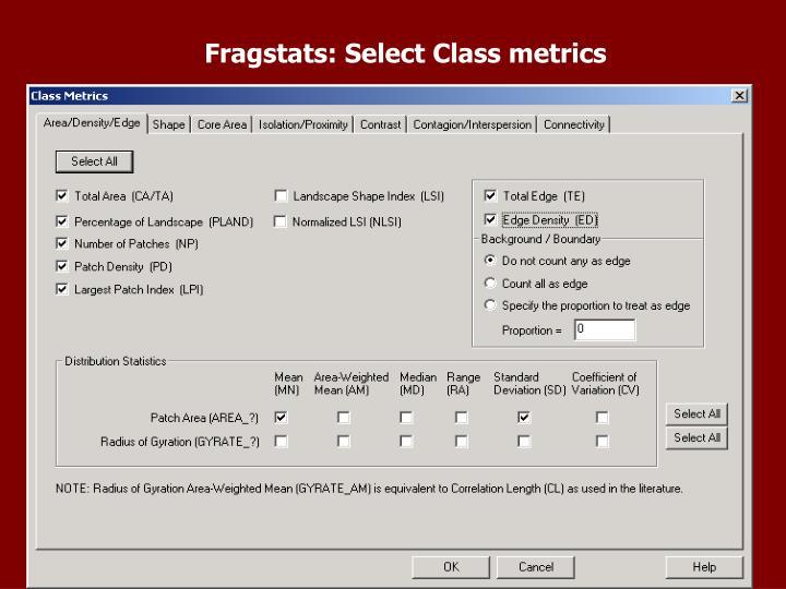Fragstats: Select Class metrics