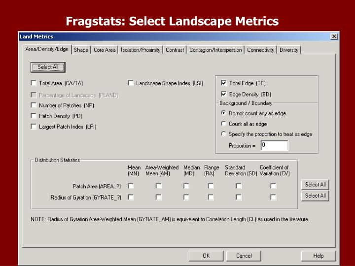 Fragstats: Select Landscape Metrics