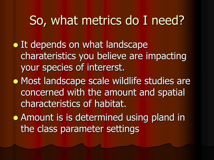 So, what metrics do I need?