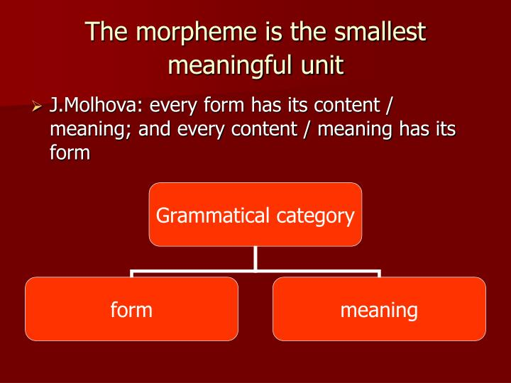 The morpheme is the smallest meaningful unit