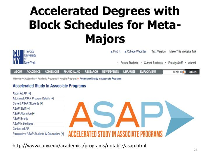 Accelerated Degrees with Block Schedules for Meta-Majors
