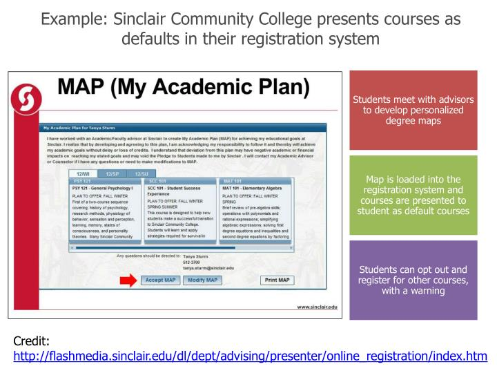 Example: Sinclair Community College presents courses as defaults in their registration system