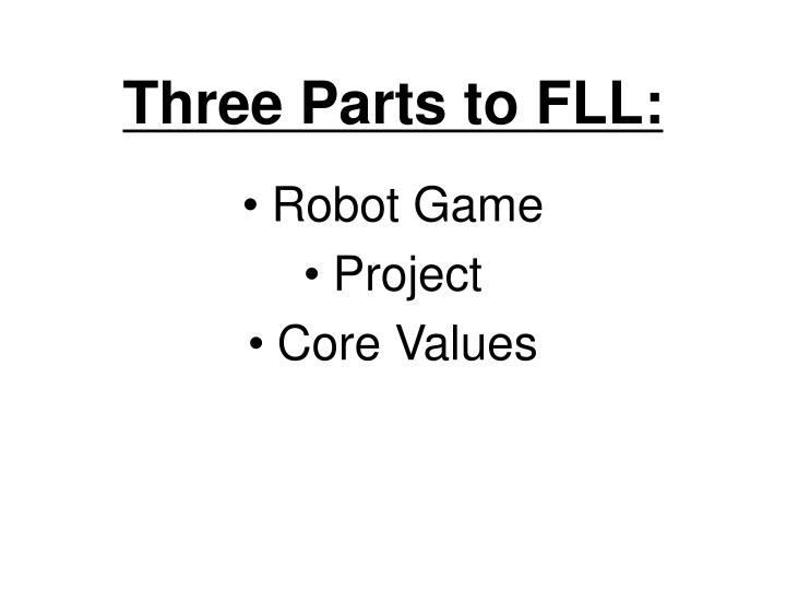 Three Parts to FLL: