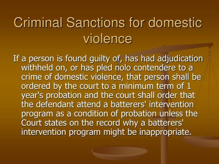 Criminal Sanctions for domestic violence