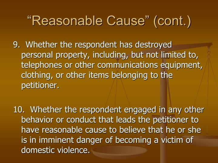 """Reasonable Cause"" (cont.)"