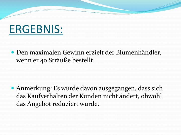 ERGEBNIS: