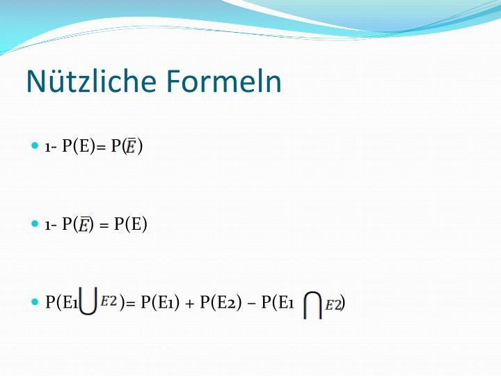 Nützliche Formeln
