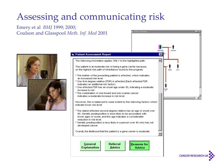 Assessing and communicating risk
