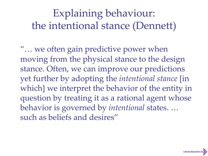 Explaining behaviour: