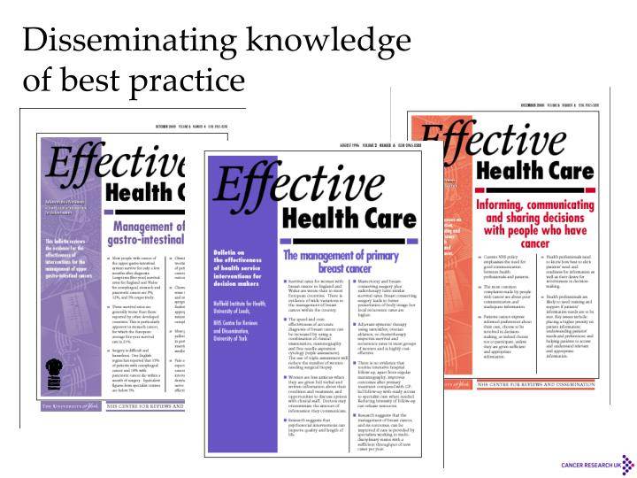 Disseminating knowledge of best practice