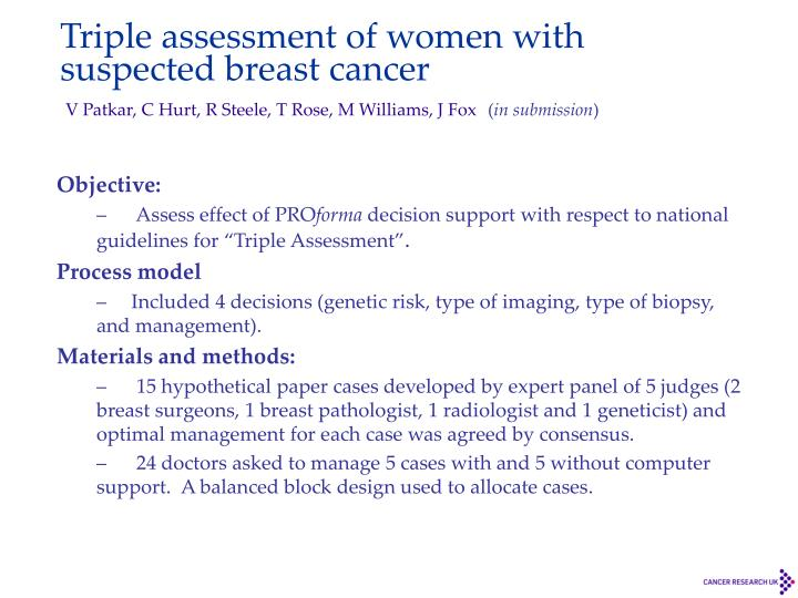 Triple assessment of women with