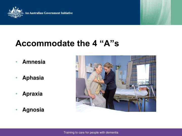 "Accommodate the 4 ""A""s"