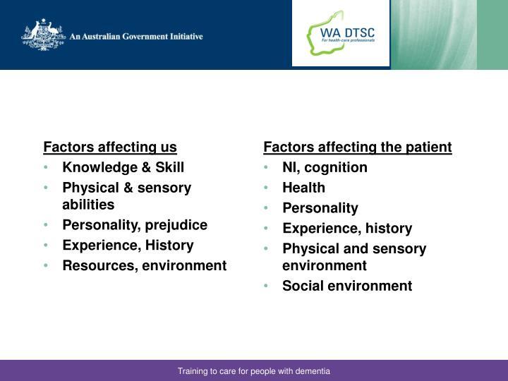 Factors affecting us