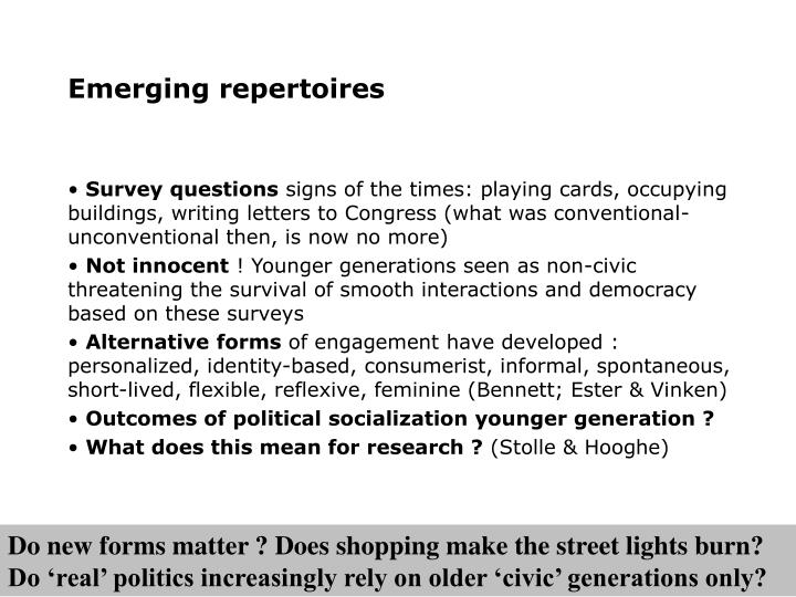 Emerging repertoires