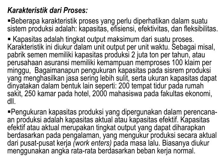 Karakteristik dari Proses: