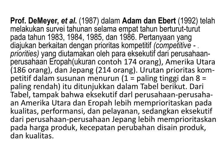 Prof. DeMeyer,