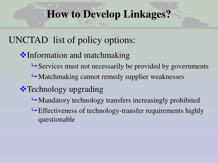 How to Develop Linkages?