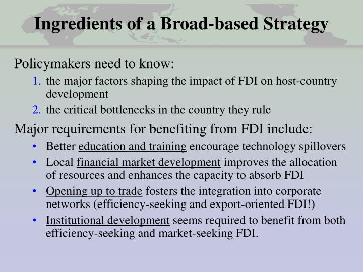 Ingredients of a Broad-based Strategy