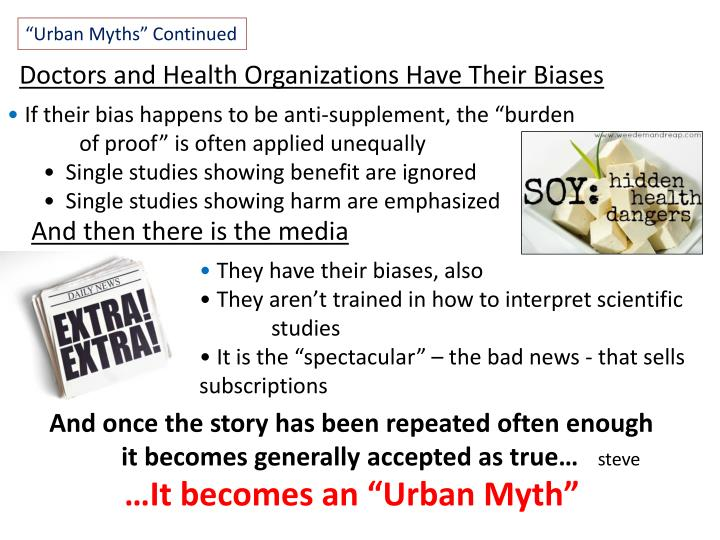 """Urban Myths"" Continued"