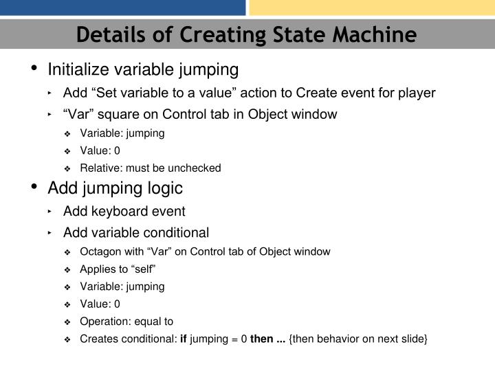 Details of Creating State Machine