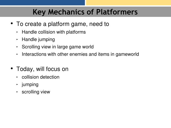 Key Mechanics of Platformers