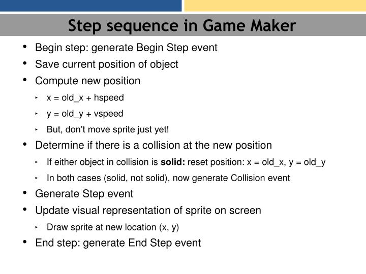 Step sequence in Game Maker