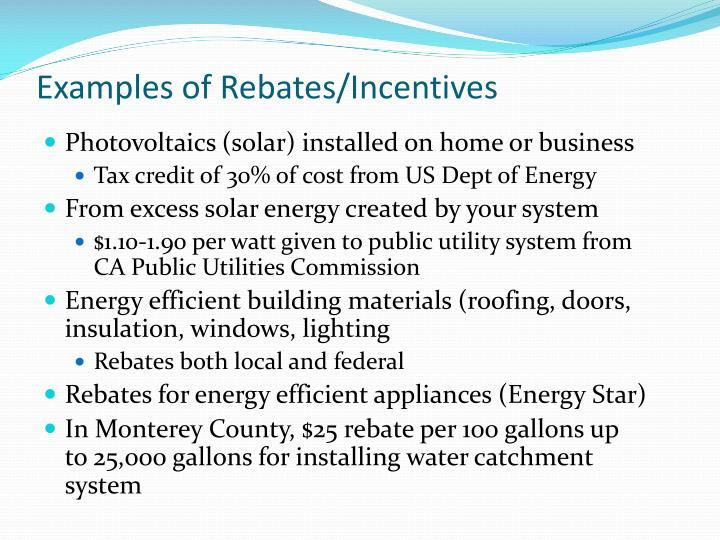 Examples of Rebates/Incentives