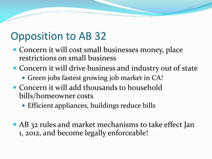 Opposition to AB 32